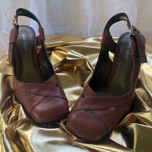 Nine West leather chunky heels. Orange/ Brown